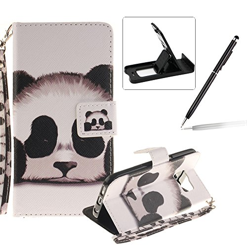 Strap Leather Case for Samsung Galaxy S7 Edge,Flip Wallet Cover for Samsung Galaxy S7 Edge,Herzzer Cute Panda Pattern Magnetic Closure Purse Folio Smart Stand Cover with Card Cash Slot Soft TPU Inner Case for Samsung Galaxy S7 Edge + 1 x Free Black Cellphone Kickstand + 1 x Free Black Stylus Pen