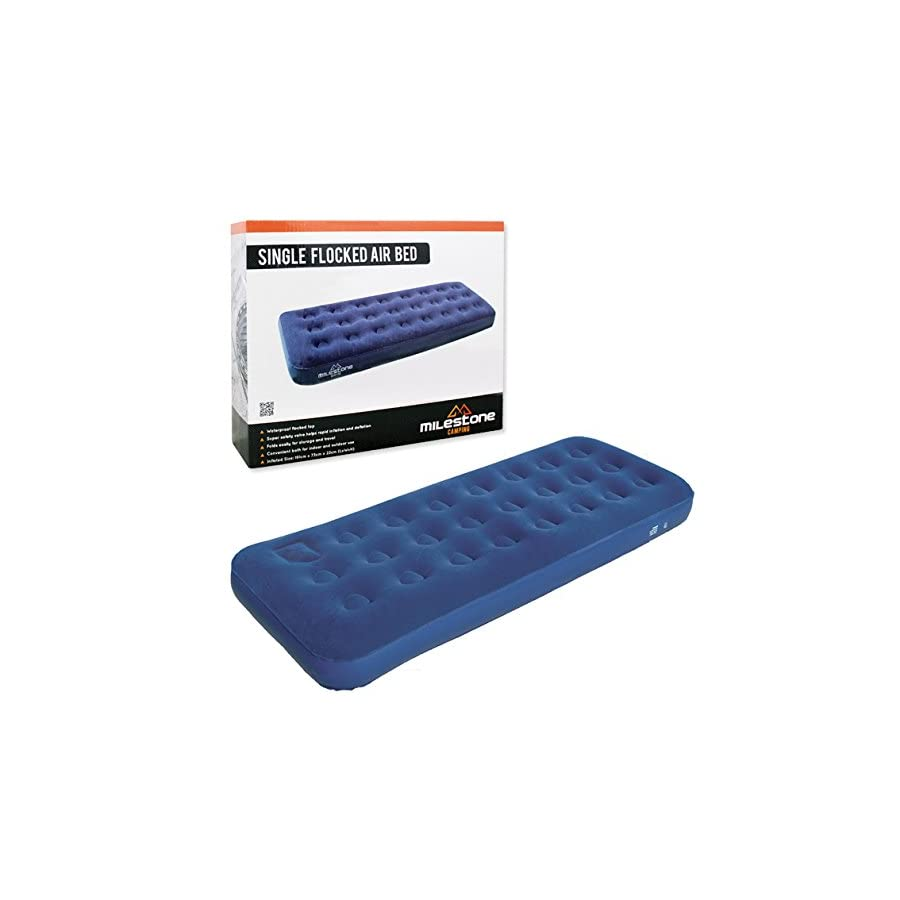 Milestone Single Flocked Air Mattress Bed, Blue