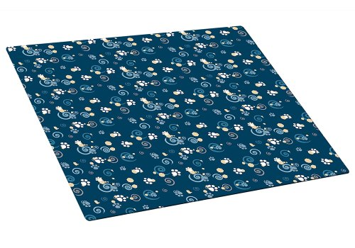 Drymate Medium Cat Litter Box Mat with Pawcasso Design, 16-Inch by 20-Inch, Dark Blue