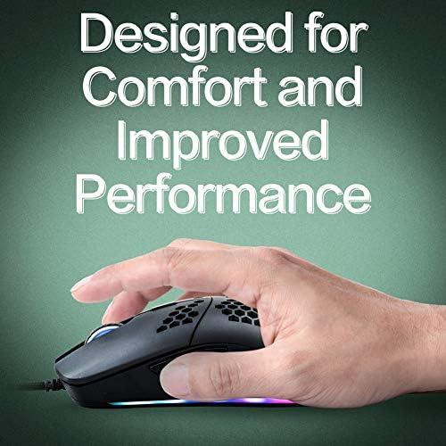 Snpurdiri S1 Pro RGB Lightweight Gaming Mouse PMW3360 12000 DPI Optical Sensor with Lightweight Honeycomb Shell Ultralight Ultraweave Cable(65G) 51vSlo5UwIL