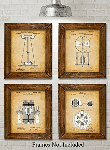 Original Tesla Patent Art Prints - Set of Four Photos (8x10) Unframed (Metal Sign Vintage Art)