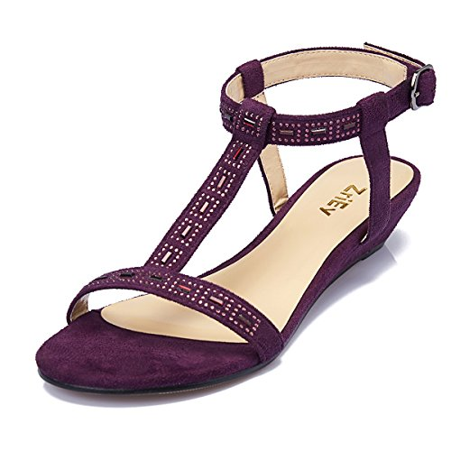 ZriEy women's Sexy T-Strap Low heel Sandals for Wedding Party Shopping Purple size 8 (Purple Heels Shoes)