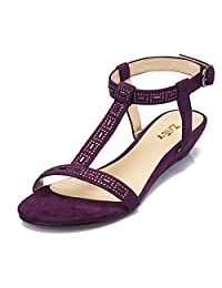 ZriEy women's Sexy T-Strap Low heel Sandals for Wedding Party Shopping