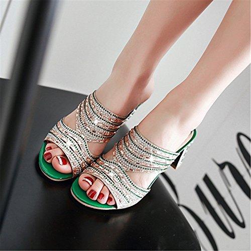 Gold noche toe mujer talón comodidad Verde Boda ZHZNVX para personalizados Verano Chunky Glitter Materiales sandalias de Zapatos Oro Novedad peep awwnqOBgH