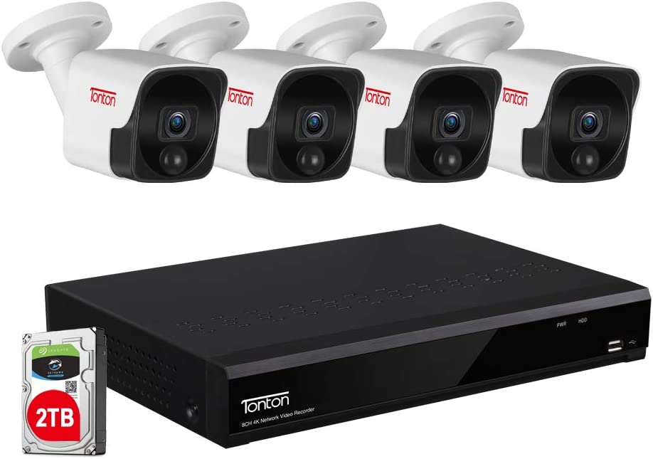 【4K Ultra HD PoE NVR&Audio Recording】 Tonton 8MP HD PoE Security Camera Systems,8CH Video NVR with 2TB HDD and 4PCS 5MP Outdoor Waterproof Bullet IP Cameras,Heat&Motion Sensing,True Plug and Play