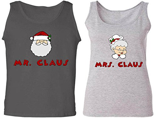 [Mr. & Mrs. Claus - Matching Couple Love Tank Tops - His and Her Tanks] (Cheap Mrs Claus Outfit)