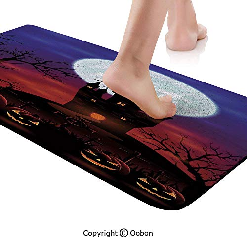 Halloween Decorations Rug Runner,Gothic Haunted House Castle Hill Valley Night Sky October Festival Theme,Plush Door Carpet Floor Kitchen Decor Mat with Non Slip Backing,71 X 24 Inches,Multi -