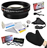 Best Value Accessory Lens Kit Bundle for the Canon PowerShot G10 G11 G12 Digital Camera - Kit Includes Opteka 2x High Definition II Telephoto Lens + Opteka HD Close-Up Set (+1, +2, and +4) with Macro Lens + Opteka GS-2 Leather Stabilizing Hand Grip Strap