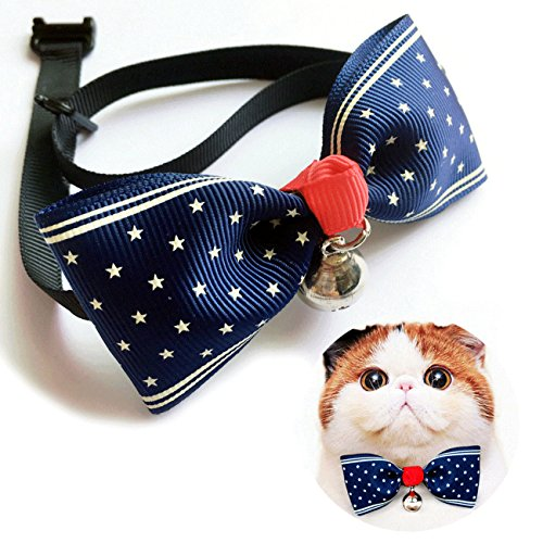 Miyoo Colorful Pet Bow Tie, Adjustable Fashion Cat Dog Rabbit Bow tie Collar with Bell, Pet Accessories Bowtie for Small Cats Kitten Dogs Puppy. (1)