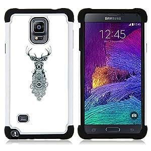 For Samsung Galaxy Note 4 SM-N910 N910 - deer antlers eyes white eye meaning Dual Layer caso de Shell HUELGA Impacto pata de cabra con im????genes gr????ficas Steam - Funny Shop -