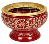 Zap Impex  Red Bowl with Carved Decoration – Very beautiful and Versatile Brass Incense Burner, Dimensions: Approximately 5 x 5.5 cm