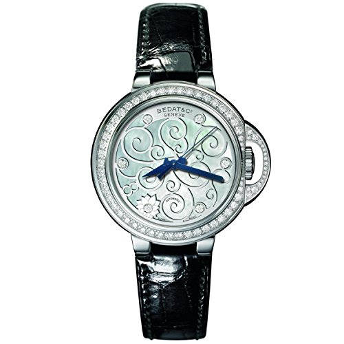 Bedat & Co Women's No.8 Diamond 36.5mm Black Leather Band Steel Case Automatic MOP Dial Watch 828.060.M01