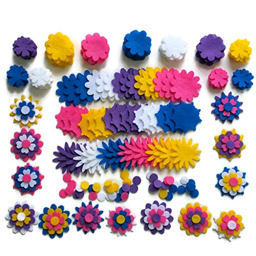 Adhesive Flower Felt - 240 Piece - Craft Felt Flowers - Assorted Color Felt Flower Shapes - by Wildflower Toys