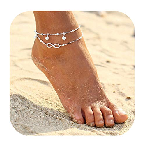 ForeveRing Z Infinity Foot Chain Boho Beach Jewelry Layer Anklet for Women Endless Love ()