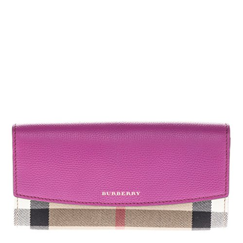 Burberry Women's House Check and Leather Continental Wallet Fuchsia