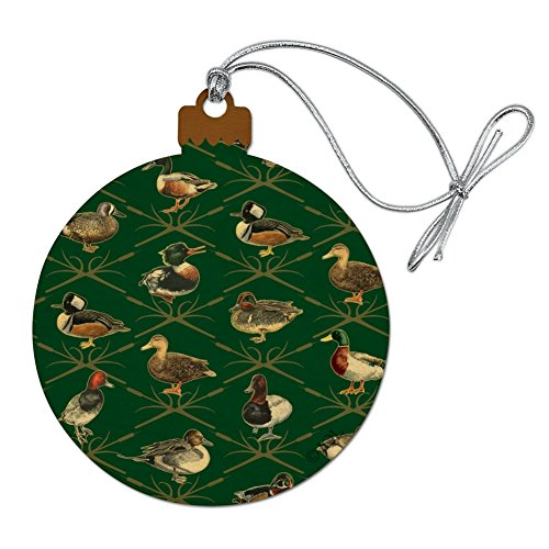 Graphics and More Reeds and Ducks Pattern Mallard Wood Redhead Hooded Merganser Wood Christmas Tree Holiday Ornament