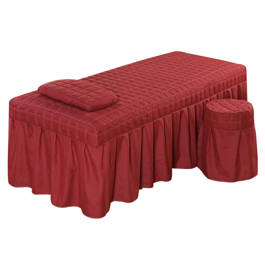 Hotel Massage Table Bedding Linen Skirt Beauty Valance Sheet With Face Hole - Wine Red-S by LOVIVER