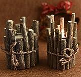 Astra Gourmet Set of 2 Wood Tea Light Candleholders, Wooden Candle Holder, Wooden Candle Holder(5 x 4 inch)