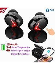 Auricolari Bluetooth Cuffie Wireless con Microfono 2500mAh Cuffie Senza Fili Cancellazione del Rumore CVC8.0 Hi-Fi Stereo Touch Control Sportivi Auricolari in-Ear per Sport