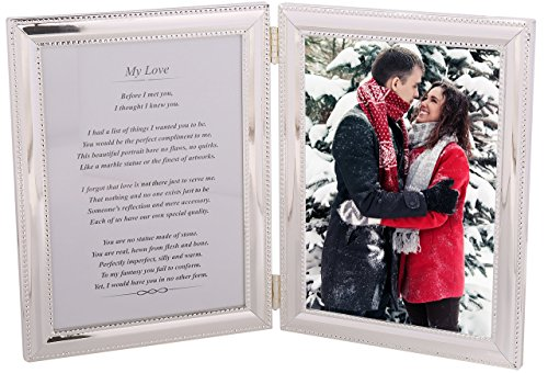 Romantic Valentine Gift for the One you Love - Heartfelt poem + your personalized photo in a beautiful silver-plated double picture frame. A great present for Husband, Wife, Boyfriend or Girlfriend!