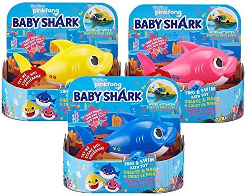 Set of 3 Daddy Baby Robo Alive Junior Baby Shark Sing /& Swim Bath Toy by Zuru Mommy