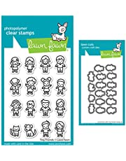 Lawn Fawn Tiny Friends 3x4 Clear Stamp and Coordinating Dies, Bundle of 2 Items (LF2506, LF2507)
