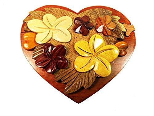 (Handmade Art Intarsia Wooden Puzzle Box-Heart Shaped Flower)