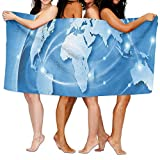 Haixia Soft Bath Towels World Connected World Concept Business Commerce Network Corporation Information Decorative Blue Light Blue White
