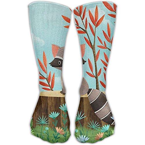 Tennis Tail Raccoon (Happy Raccoon Unisex Crew Socks Casual Crew Socks Ankle Socks Popular Socks One Size)