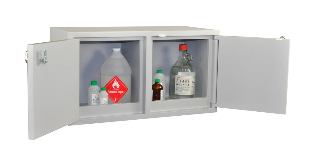 Scimatco SC9041 Gray Plywood Mini Stak-a-Cab Safety Storage Bench Combo Cabinet, Acid 10 x 2.5 L/Flammable 8 x 1 gal Capacity