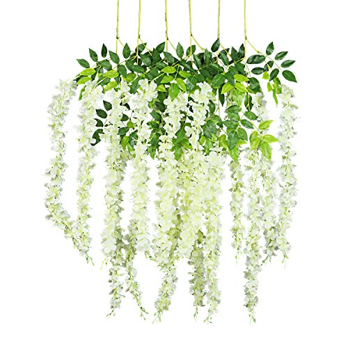 GPARK 6 Pieces Wisteria Artificial Flower 45 inch Bushy Silk Vine Ratta Hanging Garland Hanging for Wedding Party Garden Outdoor Greenery Office Wall Decoration (Milk White)
