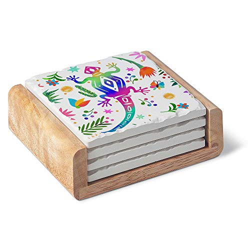 Absorbent Stoneware Coaster Set - Otomi Lizard 4 Coasters with a Wooden Holder