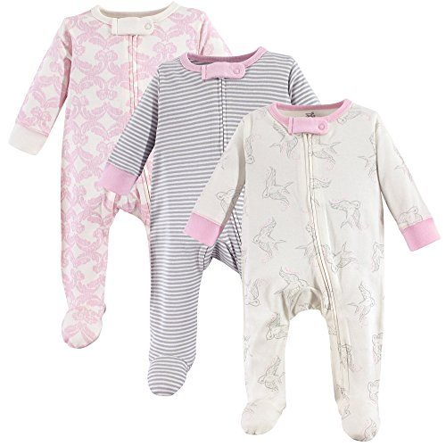 Touched by Nature Unisex Baby Organic Cotton Sleep and Play, Bird 3-Pack, 6-9 Months (9M)