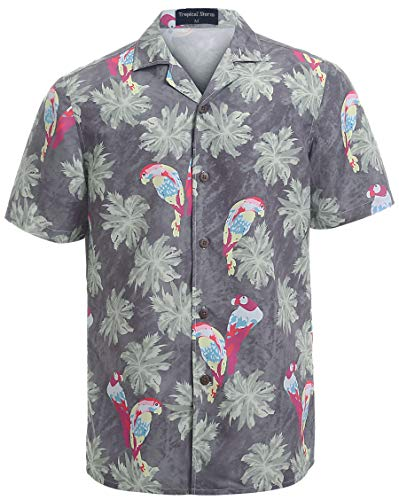 Hawaiian Shirts for Men Short Sleeve Regular Fit Mens Floral Shirts (YH1911,XXL)