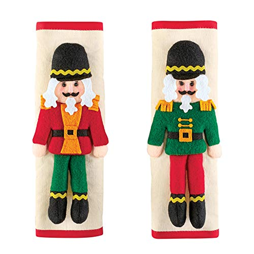 3D Nutcracker Kitchen Appliance Handle Cover – Set of 2 – Festive Holiday Decoration