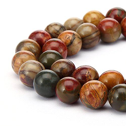 jennysun2010 Natural Picasso Jasper Gemstone 8mm Smooth Round Loose 50pcs Beads 1 Strand for Bracelet Necklace Earrings Jewelry Making Crafts Design Healing Picasso Jasper Natural Stone