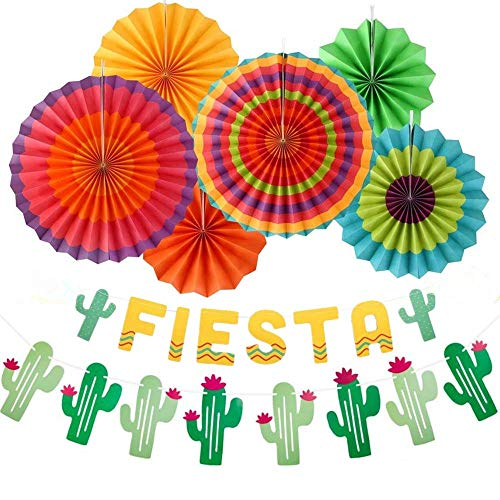 Fiesta Party Banner Decorations Mexican Cactus Garlands Paper Fans Supplies for Cinco De Mayo Baby Shower Wedding Birthday Favors]()