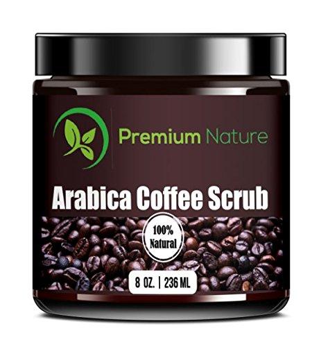 Arabica Coffee Exfoliating Body Scrub 100% Natural - with Sea Salt Olive Oil & Shea Butter - Acne Treatment Exfoliate Moisturize Tone Reduce Cellulite Premium (Olive Oil Salt Face)