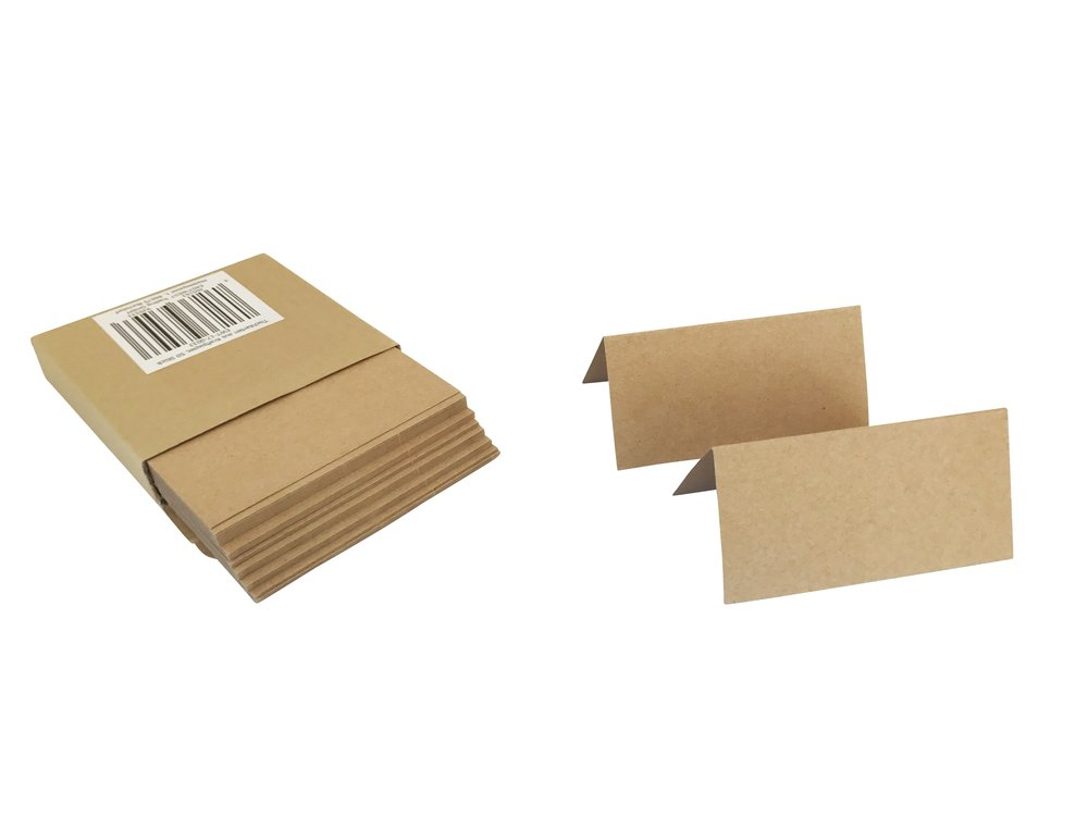 50Table Place Cards 10x 5 cm craft paper 320g/m² Paper Place Cards–Place Cards Pack of Ideal for Wedding, Birthday, Anniversary, Christening, Sympathy Family Celebrations, Parties, Meetings, Presentations. EAST-WEST Trading GmbH