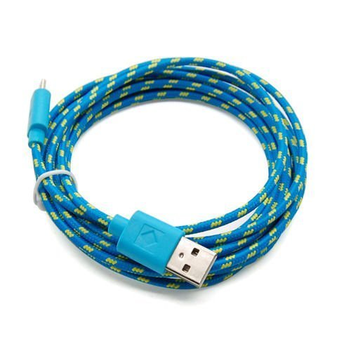 Casecover Universal Micro USB 3M 10FT Colorful Fabric Braided Data Cable Micro USB Data Sync Cable Charger Charging Cord for Android Samsung Galaxy S2 S3 S4 Note 2 HTC EVO One X S (6 blue)