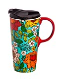 Cypress Home Ceramic Fairview Floral Travel Coffee Mug, 17 ounces