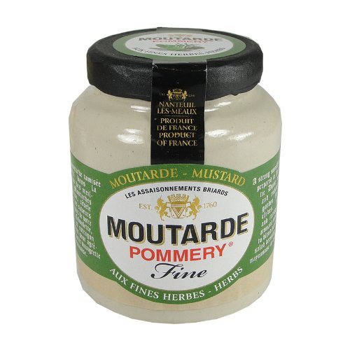 Pommery Mustard Meaux Moutarde in Pottery Crock with Herbs - Country Salad Dressing Crock
