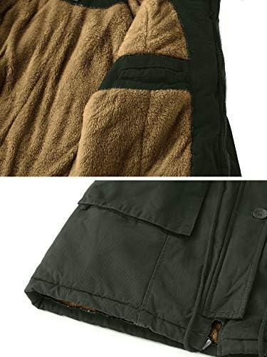 WenVen Women's Fleece Cotton Military Parka Fur Hooded Coat Jacket