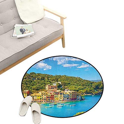 (Italy Kids Round Rug ,Portofino Landmark Aerial Panoramic View Village and Yacht Little Bay Harbor, Sofa Living Room Bedroom Modern Home Decor 39