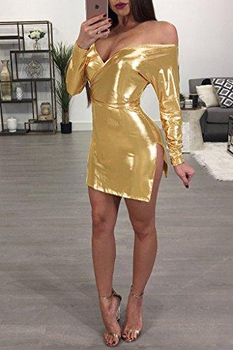 Les Femmes Blansdi Ceinture Sexy Cou Paillettes V Fendu Mini-partie Moulante Clubwear Robe Jaune