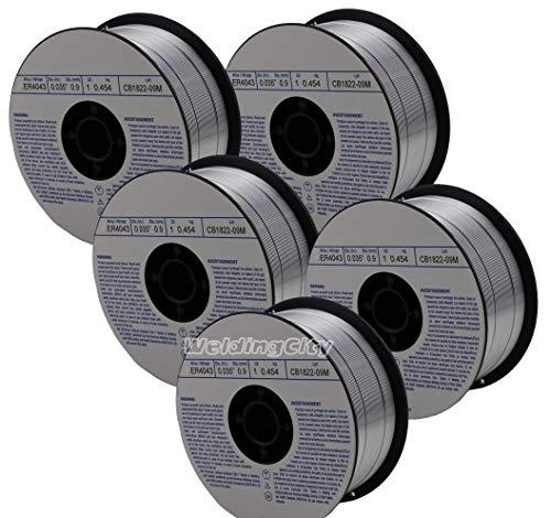 """WeldingCity 5 Rolls of ER4043 Aluminum MIG Welding Wire 1-Lb Spool 0.035"""" (0.9mm)"""
