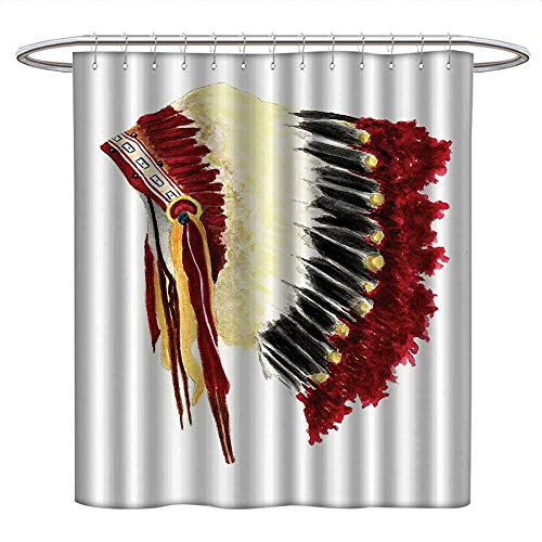 Anniutwo Native American Decor Collectioncute Shower curtainOriginal Ethnic Symbolic Mystic Eagle Feather Headdress Indian IndigenousUnique Shower curtainWhite Red Black -