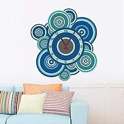 YLCJ Living Room Wall Sticker Decoration Sticker Living Room Wall Decoration Blue Sticker Creative DIY Clock Decoration Sticker