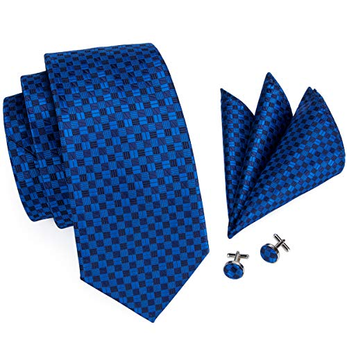 Hi-Tie Men Navy Blue Tie, Plaid checks Tie Necktie Cufflinks and Pocket Square Tie Set