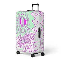 Semtomn Luggage Cover Creative Rainbow Spectrum Wings Watercolor Creativity Gay Rights Freedom Travel Suitcase Cover Protector Baggage Case Fits 18-22 Inch